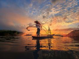 Pêcheur sur le Mekong