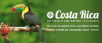 En janvier 2018 et au départ de Paris, partez au Costa Rica pour une croisière inoubliable en compagnie d'un expert en biologie et écologie.