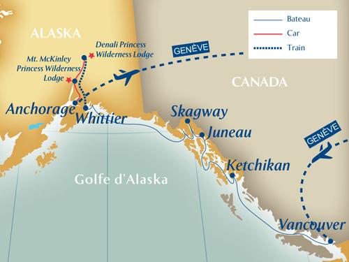 Itinéraire de Alaska - La dernière frontière - départ Genève