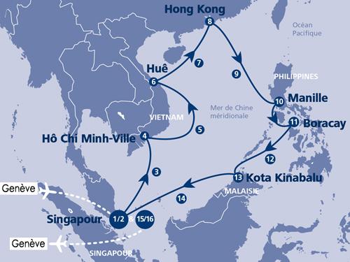 Itinéraire de Merveilles d'Asie - Départ Genève