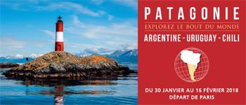 La Patagonie en croisière avec 3 conférenciers francophones et des escales sur les côtes d'Argentine, d'Uruguay et du Chili. Départ depuis Paris.