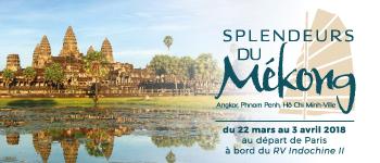 Découvrez les perles du Cambodge et du Vietnam (dont la Baie d'Along) à bord du RV Indochine II, bateau 5 ancres. Départ de Paris en mars 2018.