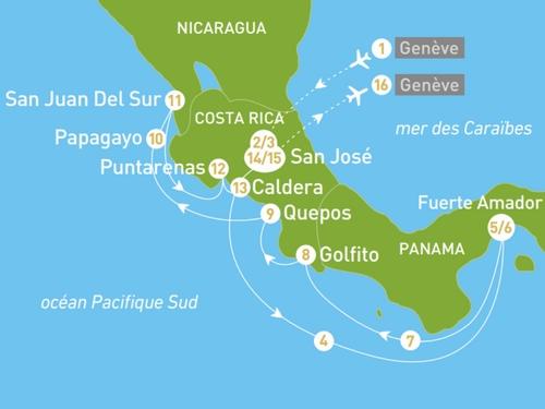 Itinéraire de Costa Rica départ Genève