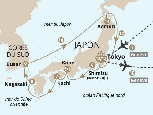 Itinéraire de Japon - Départ Genève