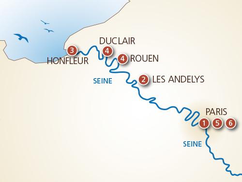 Itinéraire de La Seine impressionniste, de Paris à Honfleur