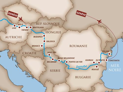 Itinéraire de Musicalia sur le Danube - Départ Genève