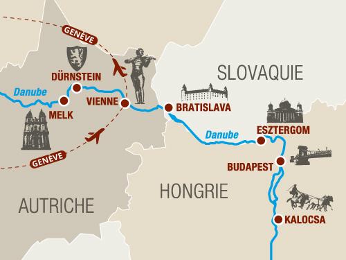 Itinéraire de Au fil de l'art sur le Danube (Départ Genève)