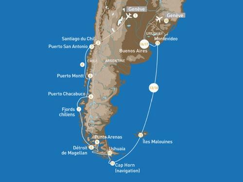Itinéraire de Patagonie & Terres australes (départ Genève)