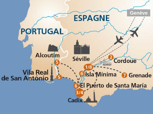 Itinéraire de Au fil de l'art sur le Guadalquivir (2018 - Suisse)
