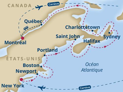 Itinéraire de Nouvelle-Angleterre (Départ Genève)