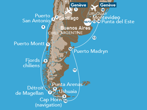 Itinéraire de Patagonie & Terre de Feu 2019 (Départ Genève)