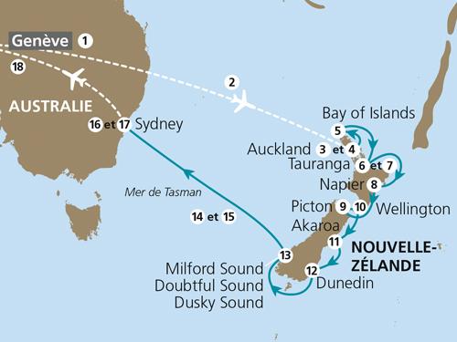 Itinéraire de Nouvelle-Zélande & Australie 2018 (Départ Genève)