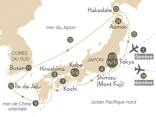 Itinéraire de Japon 2019 (Départ Genève)