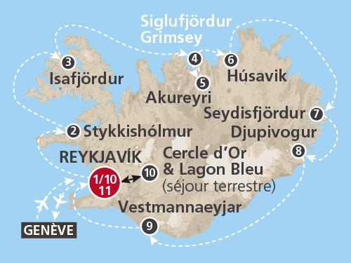 Itinéraire de Islande 2019 (Départ Genève)