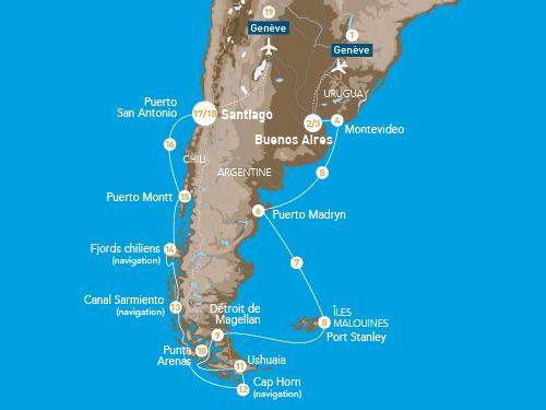 Itinéraire de Patagonie au départ de Genève (février 2019)