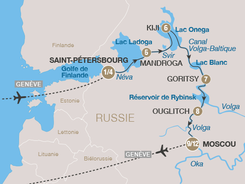 Itinéraire de Russie 2019 (Départ Genève)