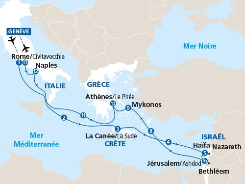 Itinéraire de La passion de l'Histoire - Méditerranée (départ Genève)