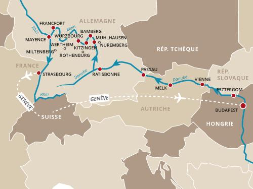 Itinéraire de La passion de l'Histoire - Danube et Rhin (départ Genève)