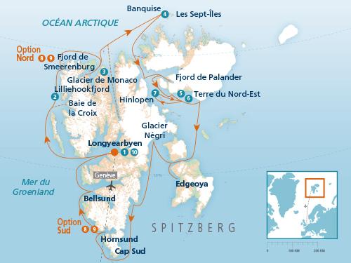 Itinéraire de Spitzberg, terre des ours 2019 (Départ Genève)