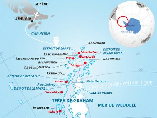 Itinéraire de Antarctique (Départ Genève)