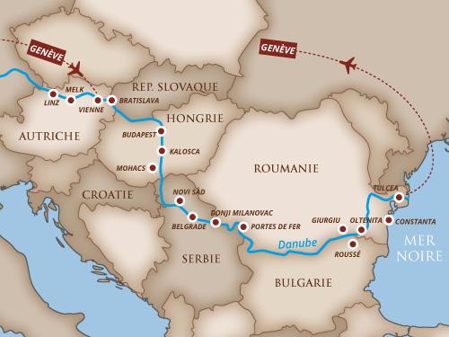Itinéraire de Musicalia sur le Danube 2019 (Départ de Genève)