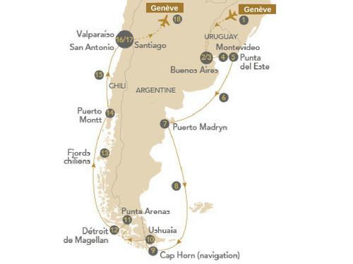 Itinéraire de Les merveilles de la Patagonie (Départ Genève)