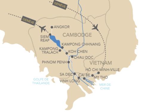 Itinéraire de Le Mékong avec Paris Match (départ Genève)