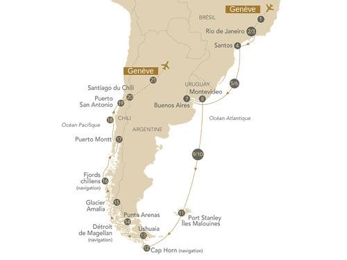 Itinéraire de Patagonie et Terres Australes (Départ Genève)