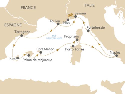 Itinéraire de Napoléon en mer Méditerranée Départ Genève
