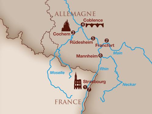 Itinéraire de Musicalia sur le Rhin (Départ Genève - 2019)