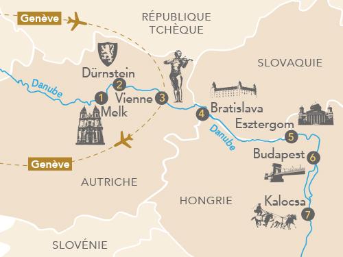 Itinéraire de Au fil de l'art sur le Danube (Départ Genève 2019)