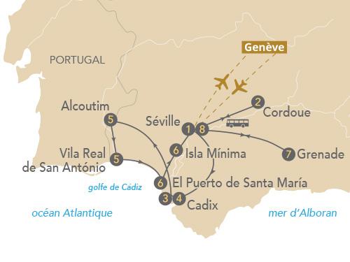 Itinéraire de Au fil de l'art sur le Guadalquivir (Départ Genève 2019)