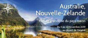 C'est à partir de Genève que vous partirez pour une incroyable croisière en Nouvelle-Zélande, Australie et Tasmanie en compagnie de Sylvain Mahuzier (guide naturaliste) et Jean-Charles Thillays (Directeur et conférencier)