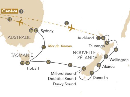Itinéraire de Australie, Nouvelle-Zélande (départ Genève)