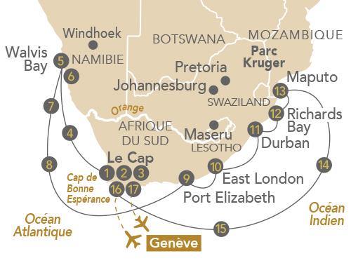 Itinéraire de Envoûtante Afrique du Sud (départ Genève)