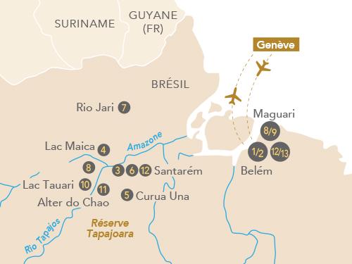 Itinéraire de Amazonie, au coeur de la forêt tropicale (départ Genève)
