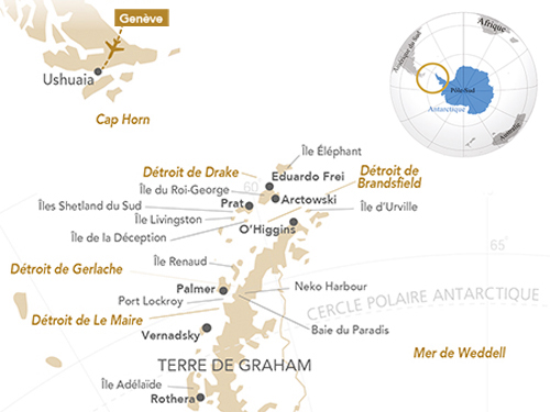 Itinéraire de Antarctique, le paradis blanc (départ Genève)