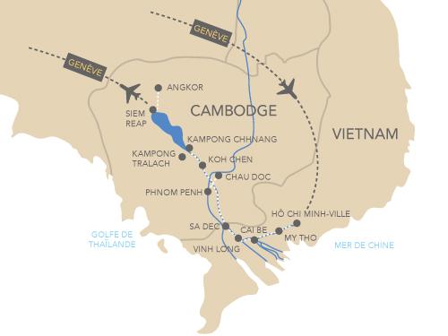 Itinéraire de Les joyaux du Mékong (départ Genève)