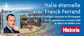Avec Franck Ferrand et Virginie Girod, partez pour une croisière sur les côtes italiennes de la Méditerranée. Départ depuis Genève