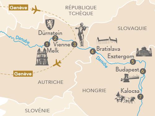Itinéraire de Au fil du Danube avec Des racines et des ailes (départ Genève)