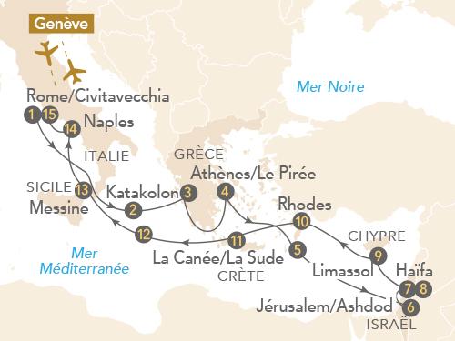 Itinéraire de Merveilles des civilisations en Méditerranée (départ Genève)