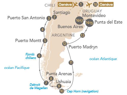 Itinéraire de Patagonie et Terre de Feu (départ Genève)
