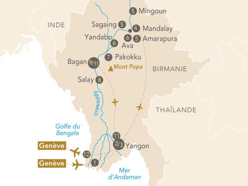 Itinéraire de Splendeurs de Birmanie (Départ Genève)