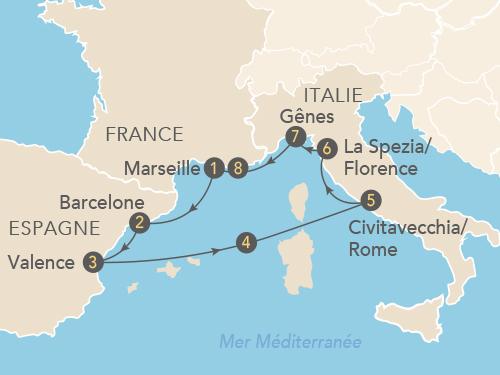 Itinéraire de Croisière Version Femina en Méditerranée