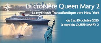 Embarquez à bord du Queen Mary 2 pour une mythique transatlantique vers New York. Atmosphère raffinée, concerts et conférences seront au programme