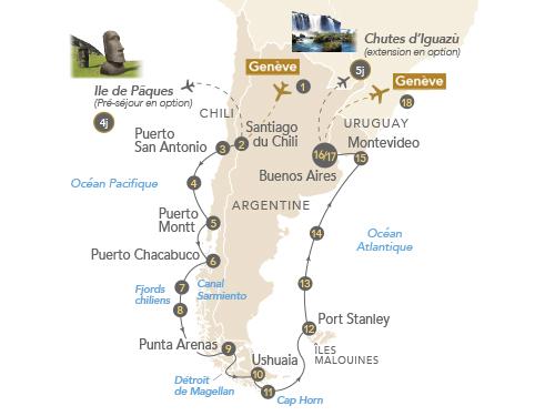 Itinéraire de Patagonie et Terres australes 2020 (Départ Genève)