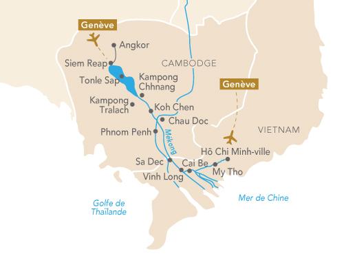 Itinéraire de Regard sur le Mékong (départ Genève)