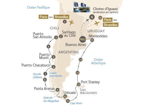 Itinéraire de Patagonie et Terres australes 2020 (départ Bruxelles)