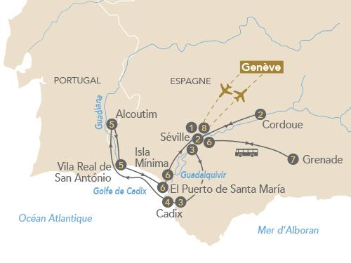 Itinéraire de Au fil de l'art sur le Guadalquivir (Départ Genève)