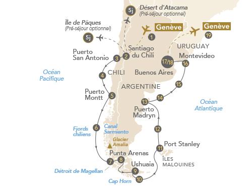 Itinéraire de Patagonie et Terre de Feu (Départ Genève) Eclipse
